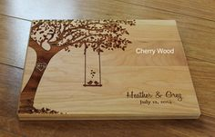 Personalized Cutting Board Swing and Birds Custom Wedding Anniversary Kitchen Art Housewarming Bridal Shower Valentine Gift