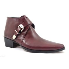 ecb5f21ac0a Find mens burgundy pointed buckle cuban heel boot. A 4.5 mm heel and deep  wine