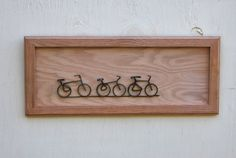 Bicycle Art - Bike Art Sculpture on Hand Crafted Oak Hanging. $150.00, via Etsy.