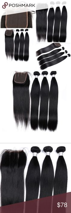 "Indian Straight hair 3 bundles and Closure Indian Straight hair Natural black Color Non-Remy Human Hair 3 packs plus closure 16"" 18"" 20"" plus 14"" closure  Packaging	3 pcs Weft & 1 pc Closure Can Be Permed	Yes Chemical Processing	Acid processing Material Grade	Non-remy Hair Human Hair Type	Indian Hair Texture	Straight Part Design	Three Part Longest Hair Proportion	<10% Suitable Dying Colors	Darker Color Only Other"