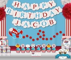 Airplane Aviator Birthday Party Package - Personalized and Editable Items - Standard Package - PK-24