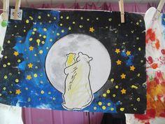 welterusten kleine beer: donkere kleuren stempelen, sterretjes met ponsjes en wattenstaafjes en dan een gekopieerde maan en ingekleurde beren erop