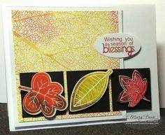 Sweet 'n Sassy Stamps used: Leaf Silhouettes set, Leaf Silhouettes Die, Leaf Skeleton Background.