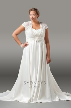 """You'll have a """"Love Affair"""" with our satin and lace formal #wedding gown. The sweetheart bodice has cap sleeves and a key-hole back. Available in sizes 14 - 32 SC5036 has a satin flower accent in the middle of the pleated waistband. Complete with a court train this bridal piece is pure beauty and perfect for your big day!  http://www.sydneyscloset.com/sydneys-closet/5036/"""