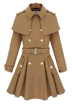 Camel Pockets Turndown Collar Wool Bend Wool Coat