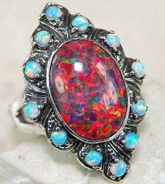 *Natural RED FIRE OPAL,& 925 SOLID STERLING SILVER filigree ring.