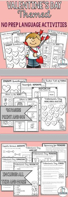 This Valentine's Day Themed Language Activities pack contains various no prep activities covering a range of language goals, including synonyms, antonyms, homonyms, pronouns, prepositions, categories, wh-questions and more!