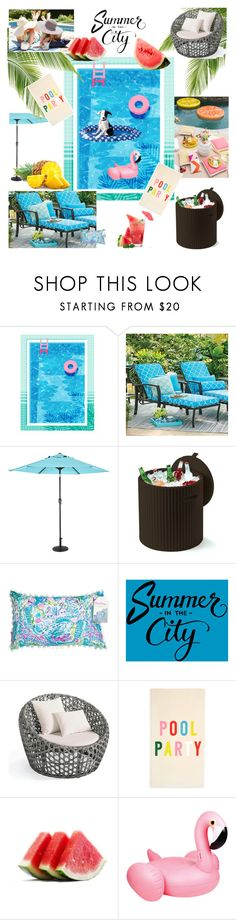 """""""Pool Party!👙🍍🍉🍹"""" by kikikoji ❤ liked on Polyvore featuring interior, interiors, interior design, home, home decor, interior decorating, Improvements, Outdoor Oasis, Keter and Lilly Pulitzer"""
