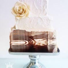 Pretty Chocolate Wood Tiered Cake