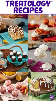 Explore over 30 unique Treatology™ recipes made-from-scratch, including mouth-watering creations like champagne meringues and browned butter peach cupcakes in the Wilton Treatology Recipes board.  With 8 different flavors including salted caramel, sweet meyer lemon, warm cinnamon graham, peach, fresh basil, toasted coconut, creamy vanilla custard and crisp champagne the possibilities are endless!