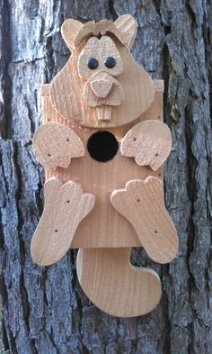 Handcrafted Squirrel Birdhouse in Cedar or by RossArtsNCrafts, $30.00