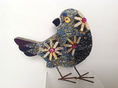 Hey, I found this really awesome Etsy listing at https://www.etsy.com/listing/189837257/blue-and-orange-mosaic-bird