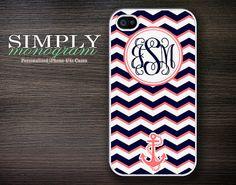 iphone 4 case - plastic or silicone rubber - nautical chevron monogram. $16.99, via Etsy.