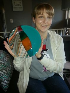My daughter Melleny with 3-layered fused glass bowl.