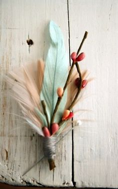boutineer - handmaid boutineer with feathers