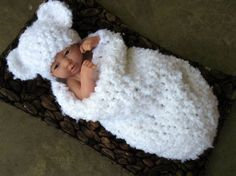Handmade Crochet Baby Cocoon This gorgeous white newborn cocoon and teddy bear hat set is made from a super soft acrylic boucle yarn. Crochet Baby Cocoon, Crochet Bebe, Crochet Baby Clothes, Newborn Crochet, Baby Blanket Crochet, Crochet For Kids, Baby Knitting Patterns, Baby Patterns, Boucle Yarn
