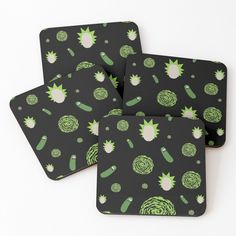 'Pickle Rick Portal Pattern' Coasters by rainbowdreamer Canvas Prints, Art Prints, Drink Coasters, Floral Tie, Pickles, Portal, Print Design, Finding Yourself, Great Gifts