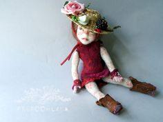 Tea little needle felted art doll by FELTOOHLALA ♡ by feltoohlala