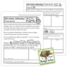 Fichier PDF téléchargeable En noir et blanc seulement 6 pages + Fichiers de badges tortue Les élèves doivent résoudre 10 problèmes mathématiques afin de trouver la combinaison secrète du cadenas qui libérera les tortues capturées.