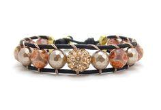 Leather Wrap Bracelet in Light Sapphire Faceted by AlexisLjewelry