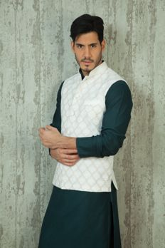 Silk jacket embellished with resham work from #Benzer #Benzerworld #Indowesternwearformen
