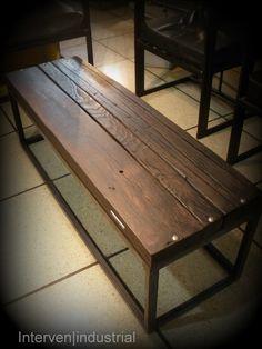 Mesa de centro, hierro y madera recuperada (tablones de 2 pulgadas)