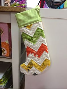 "Stocking patten by @thimbleblossoms ""Merry"". Comma fabric #verymerrymodachristmas"
