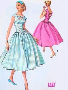 1950s BEAUTIFUL Party Dress Pattern McCALLS 4077 Easy To Sew Stunning Design Bust 32 or 36 Vintage Sewing Pattern