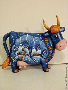 Голубая корова скульптура дерево ручная роспись - корова,деревянная скульптура