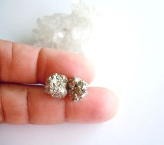 Raw Pyrite Stud Earrings  Mineral Specimen Earrings by NaturalGlam #gift
