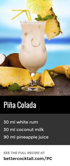 Piña Colada, the national drink of Puerto Rico since 1978 and enjoyed on beaches and sunbeds around the world. A complimentary blend of rum, coconut and pineapple combine beautifully. Served in a Poco Grande glass (also known as a hurricane glass) and gar Party Drinks Alcohol, Alcohol Drink Recipes, Summer Cocktails, Cocktail Drinks, Alcoholic Drinks, Vodka Cocktails, Cheap Cocktails, Aquavit Cocktails, Summer Beverages