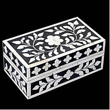 This Handmade box is made of wooden with beautiful hand painting. It is bone fitted box. Bone fitting on the box is shape of flowers and leafs,which gives it unique look. This box will give a different look to your room and other place where will you keep it. You can use it for keep a precious things of your.Note: This is Handcraft Item so each item will be different than other due to limitation of photography.