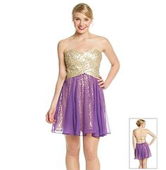 Product: Morgan and Co.® Juniors' Short Sequin Chiffon Overlay Dress