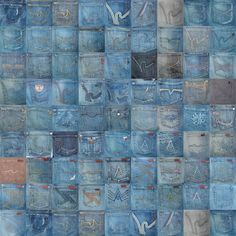 Denim pockets wall storage for small items. Jean Crafts, Denim Crafts, Blue Jean Quilts, Denim Quilts, Rag Quilt, Quilt Blocks, Pocket Craft, Denim Ideas, Recycled Denim