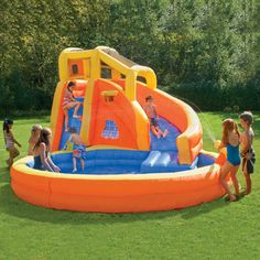 Typhoon Twist Inflatable Water Slide with Pool - this would be AWESOME for a summer party with kids! (supervised of course!) Goose would love it!