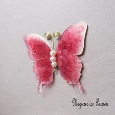 Papillon 3D décoration soie et transparent rose 10 cm Transparent, Decoration, 3 D, Brooch, Stud Earrings, Support, Dimensions, Jewelry, Boutique