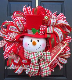 Christmas Deco Mesh Wreath  Christmas Front Door Wreath