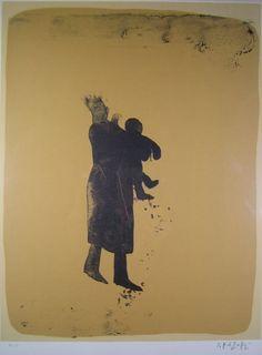 香月泰男 母子像 絵画(石版画・リトグラフ)作品