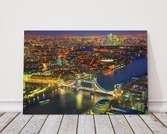 Aerial-view-of-London-city-and-tower-bridge-night-printed-framed-canvas-picture