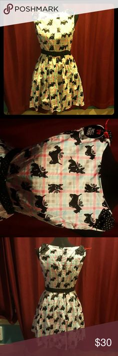 Hell bunny 50's scotty dog check dress 50's style mini dress with cute black scotty dogs on a white, pink, blue check print with black and white polka dot shoulder bow and removeable belt. Back zipper NWT!!! hell bunny  Dresses Mini