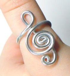 Treble Clef Adjustable Aluminum Ring by melissawoods on Etsy