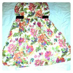 Floral Print Dress Strapless floral dress Dots Dresses