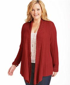 Lucky Brand Jeans Plus Size Sweater, Long-Sleeve Open-Front Cardigan - Junior Plus Sizes - Plus Sizes - Macy's