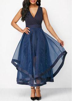 Long Maxi Dresses Mesh Panel Sleeveless V Neck High Waist Dress Cheap Maxi Dresses, Sexy Dresses, Dresses For Sale, Dresses Online, Blue Dresses, Casual Dresses, Navy Dress, Blue Dress Outfits, Navy Maxi