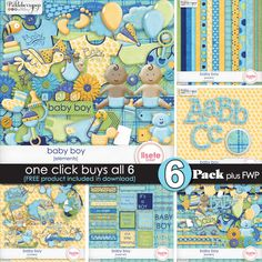 Baby Boy 6 Packs with FWP mini kit By Lisete Scrap