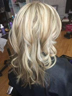 Beautiful blonde highlights. Natural base with blonde highlights toned with 10NV