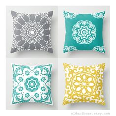 Teal Grey and Yellow Pillows / Set of 4 Pillow Covers / Modern Pillow / Modern Medallion Pillows / Home Decor / Abstract Floral Pillow by AldariHome on Etsy