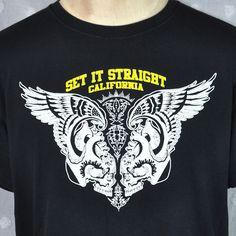 Set It Straight edge Wings Skull Tattoo Pinstripe Punk Large T-shirt Hardcore