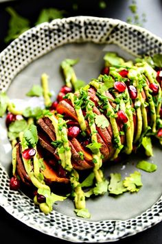 A sliced sweet potato drizzled with avocado and sprinkled with pomegranate seeds is the opposite of a sad desk lunch. Get the recipe here.