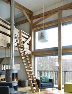 I think you could do something similar (in a utilitarian manner) with a large metal barn buildings that you see all over East County to make it a little more comfortable and usable for more than just tractor and hay storage---I like the loft.
